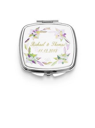 Regalos De La Novia - Personalizado Lindo Acero Inoxidable Espejo compacto