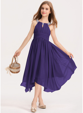 A-Line Scoop Neck Tea-Length Chiffon Junior Bridesmaid Dress With Ruffle Beading Bow(s)