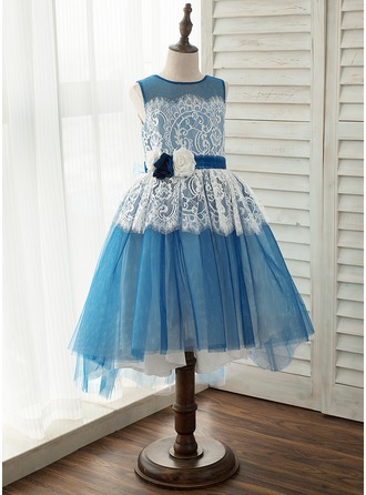 A-Line/Princess Asymmetrical Flower Girl Dress - Tulle/Lace Sleeveless Scoop Neck With Flower(s)