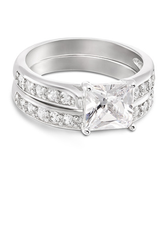 Sterling zilver Zirconia Halo Princess Cut Bruids sets -