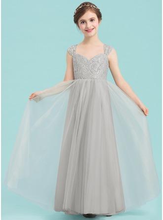 A-Line/Princess Sweetheart Floor-Length Tulle Junior Bridesmaid Dress