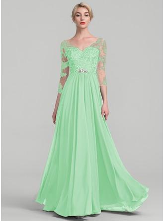 A-Line/Princess V-neck Floor-Length Chiffon Lace Mother of the Bride Dress