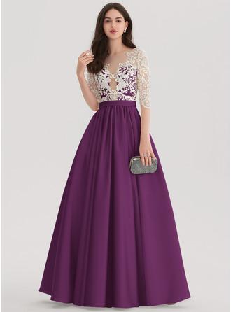 Ball-Gown Scoop Neck Floor-Length Satin Prom Dresses