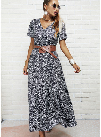 Leopard A-line Short Sleeves Maxi Casual Skater Dresses