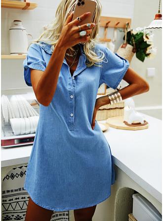 Jednolity Pokrowiec Krótkie rękawy Mini Dżinsowa Nieformalny Sukienka koszulowa Modne Suknie
