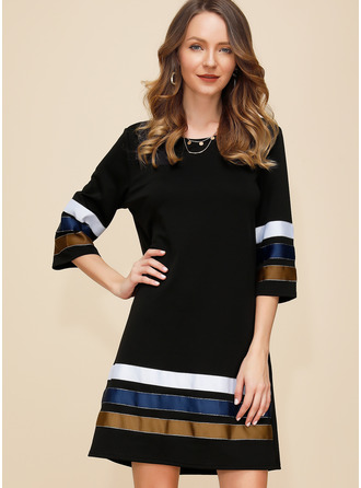 Color Block Shift 3/4 Sleeves Mini Casual Tunic Dresses