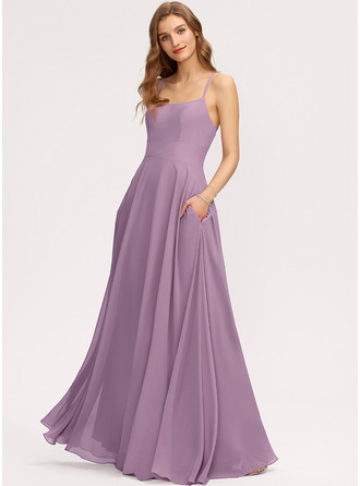 Scoop Neck Wisteria Chiffon Dresses