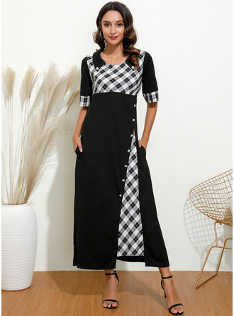 Maxi Round Neck Polyester Button/Plaid 1/2 Sleeves Fashion Dresses