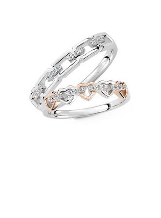 Argent sterling Zircone cubique Cœur Coupe Ronde Les anneaux du couple - Cadeaux Saint Valentin