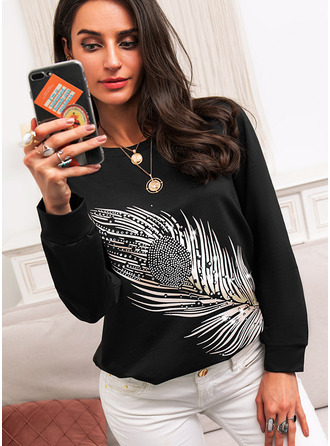 Beaded Print Round Neck Long Sleeves Casual T-shirt