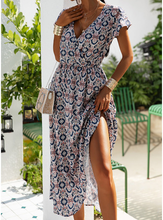 Print A-line Cap Sleeve Midi Casual Skater Dresses