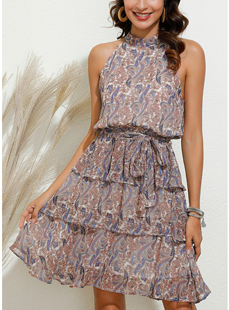Print A-line Sleeveless Mini Boho Casual Vacation Skater Dresses