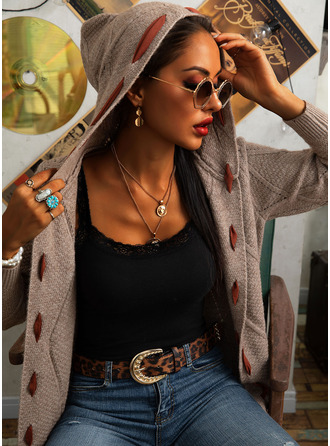 Hooded Casual Long Color Block Sweaters