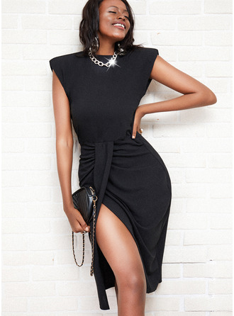 Solid Sheath Sleeveless Midi Little Black Elegant Dresses