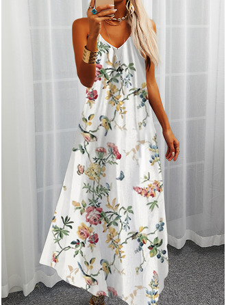 Animal Print Floral Print A-line Sleeveless Maxi Casual Vacation Skater Type Dresses