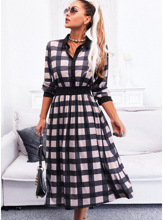 Plaid A-line Long Sleeves Midi Elegant Skater Dresses