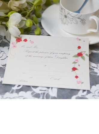 Floral Style Flat Card Invitation Cards (Set of 50)
