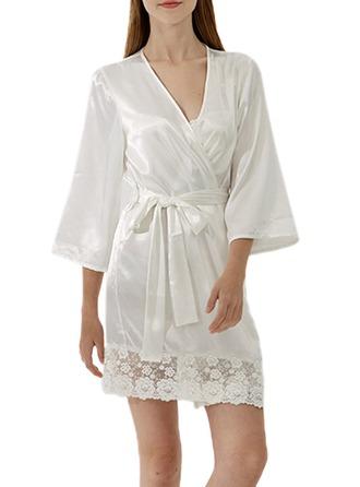 Bride Bridesmaid Satin Lace With Short Satin Robes Satin & Lace Robes