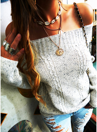 Off the Shoulder Casual Solid Cable-knit Sweaters