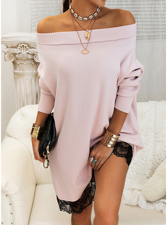Off the Shoulder Casual Long Lace Solid Sweaters