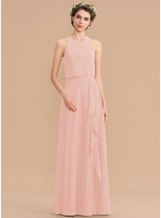 A-Line Scoop Neck Floor-Length Chiffon Bridesmaid Dress With Cascading Ruffles