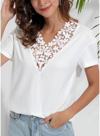 Lace Solid V-Neck Short Sleeves Casual Elegant