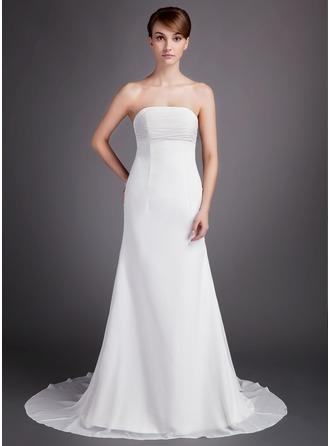 A-Line/Princess Strapless Court Train Chiffon Wedding Dress With Ruffle