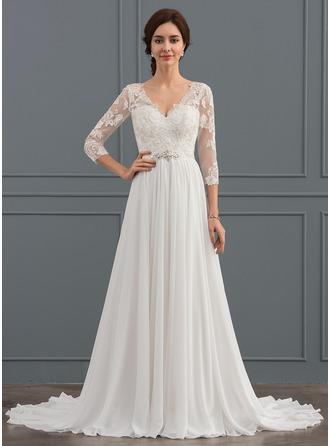 A-linjeformat V-ringning Sweep släp Chiffong Spets Bröllopsklänning med Beading Paljetter