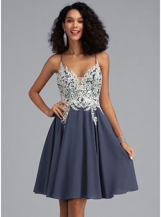 Corte A Decote V Curto/Mini Tecido de seda Vestido de boas vindas com Renda Beading lantejoulas