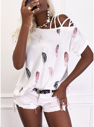 Print Feather One Shoulder Short Sleeves Casual