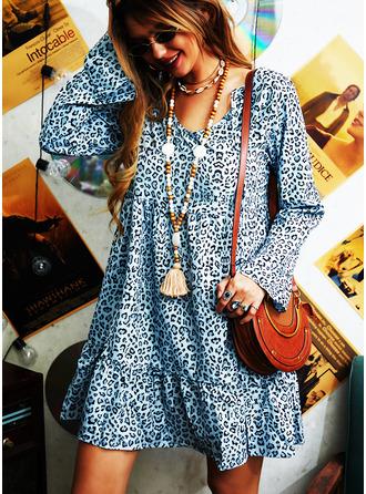 Leopard Šaty Shift Dlouhé rukávy Midi Neformální Tunika Módní šaty