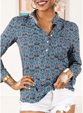 Print V-Neck Long Sleeves Casual
