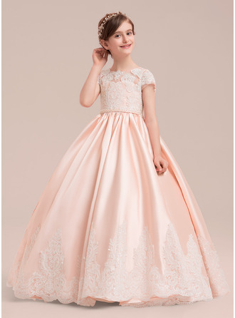 2941fb4f8a3 Ball Gown Floor-length Flower Girl Dress - Satin Tulle Lace Short Sleeves