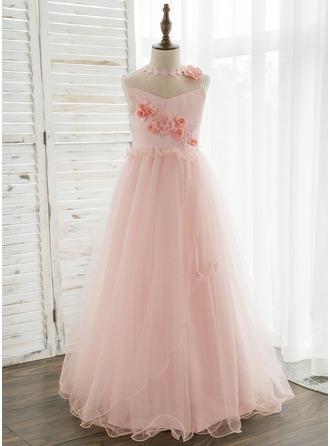 A-Line/Princess Floor-length Flower Girl Dress - Organza/Tulle Sleeveless Scoop Neck With Flower(s)/Rhinestone