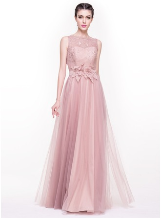 A-Line/Princess Scoop Neck Floor-Length Tulle Prom Dress With Beading Flower(s) Sequins