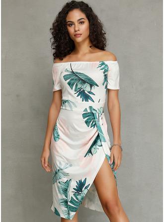 印刷 シースドレス 半袖 ミディ カジュアル ファッションドレス