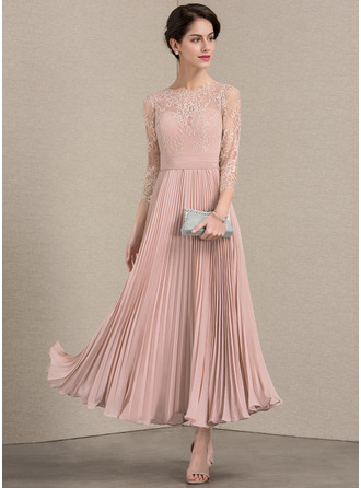 A-Line/Princess Scoop Neck Ankle-Length Chiffon Lace Cocktail Dress With Pleated