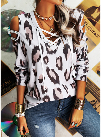 Beaded Leopard Cold Shoulder Long Sleeves Casual Blouses