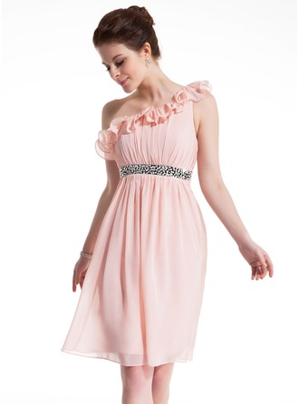 Empire One-Shoulder Knee-Length Chiffon Homecoming Dress With Ruffle Sash Beading Bow(s)