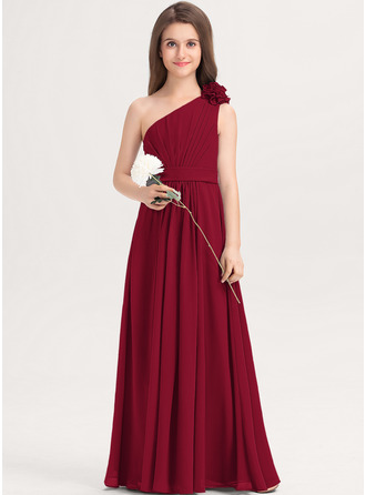 A-linjainen Yksiolkaiminen Lattiaa hipova pituus Sifonki Nuorten morsiusneito mekko jossa Rypytys Kukka(t)