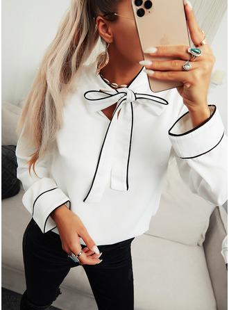 Solid V-Neck Long Sleeves Elegant Blouses