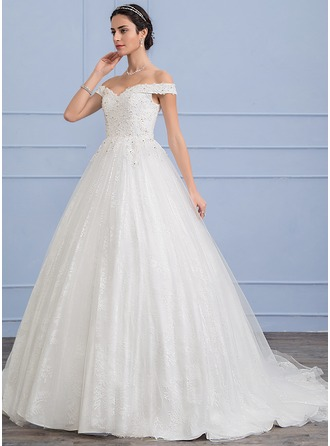 Ball-Gown Off-the-Shoulder Sweep Train Tulle Wedding Dress With Beading Sequins