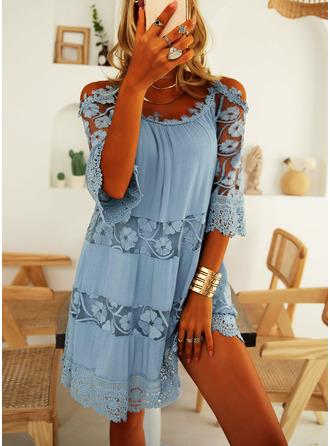 レース 固体 シフトドレス 3/4袖 コールドショルダースリーブ ミニ カジュアル 休暇 チュニック ファッションドレス