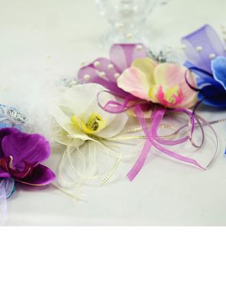 Девчушки Атлас/Имитация Перл/шелковые цветы Букетик на запястье - Букетик на запястье