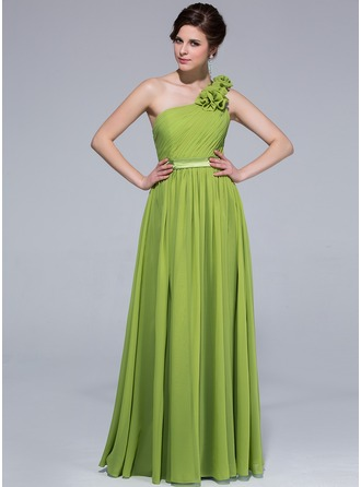 A-Line One-shoulder Floor-length Chiffon Bridesmaid Dress With Ruffle Flowers