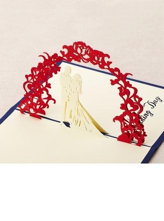 Tredimensionell Söt bröllop Hälsnings Kort