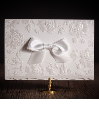 Personalized Classic Style Top Fold Invitation Cards With Bows (Set of 50)