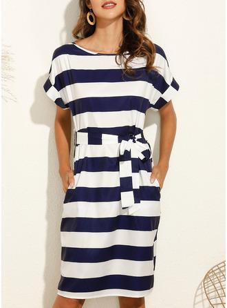 Striped Bodycon Short Sleeves Midi Casual Pencil Dresses
