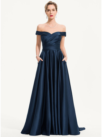 A-Line Off-shoulder Sweep/Brush train Satin Aftenkjole med Lommer
