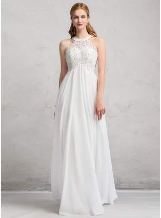 Empire Scoop Neck Floor-Length Chiffon Lace Wedding Dress With Beading